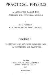 Cover of: Practical physics | William S. Franklin