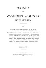 Cover of: History of Warren County, New Jersey | George Wyckoff Cummins