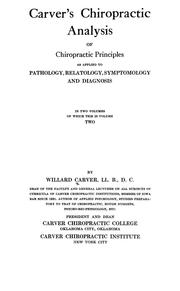 Cover of: Carver's chiropractic analysis of chiropractic principles | Willard Carver