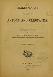 Cover of: Shakespeare's tragedy of Antony and Cleopatra by William Shakespeare