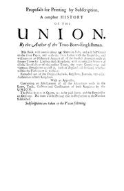 Cover of: Proposals for printing by subscription, a compleat history of the Union | Daniel Defoe