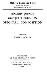 Edward Youngs Conjectures on original composition