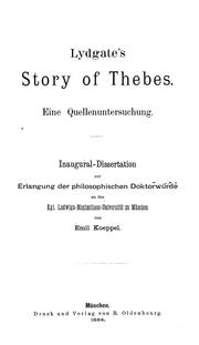 Cover of: Lydgate's Story of Thebes | Emil Koeppel