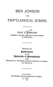 Cover of: Ben Jonson and the classical school