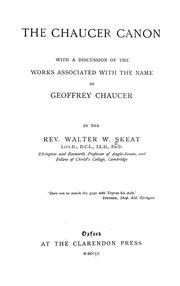 The Chaucer canon by Walter W. Skeat