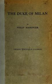Cover of: An edition of Philip Massinger