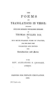 Cover of: The poems and translations in verse | Thomas Fuller