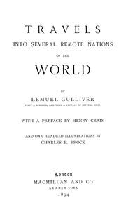 Cover of: Travels into several remote nations of the world | Jonathan Swift