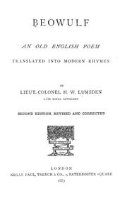 Cover of: An old English poem translated into modern rhymes | Harry William Lumsden