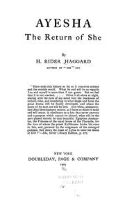 Cover of: Ayesha, the return of She | H. Rider Haggard