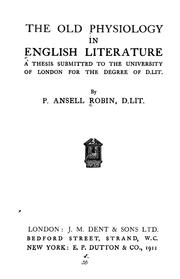 Cover of: The old physiology in English literature ... | Percy Ansell Robin