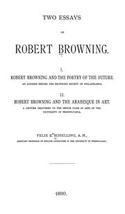 Cover of: Two essays on Robert Browning