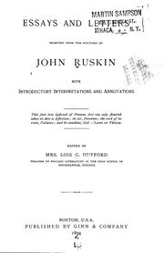 Cover of: Essays and letters selected from the writings of John Ruskin | John Ruskin