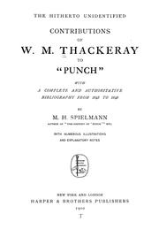 Cover of: The hitherto unidentified contributions of W.M. Thackeray to Punch. | William Makepeace Thackeray
