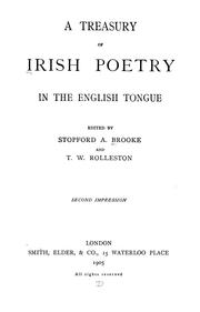 Cover of: A treasury of Irish poetry in the English tongue | Brooke, Stopford Augustus