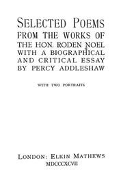 Cover of: Selected poems from the works of the Hon. Roden Noel | Roden Berkeley Wriothesley Noel