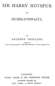 Cover of: Sir Harry Hotspur of Humblethwaite | Anthony Trollope