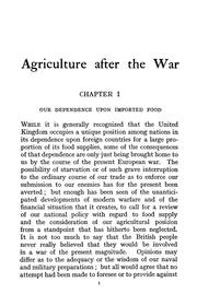 Cover of: Agriculture after the war