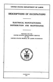 Cover of: Descriptions of occupations | United States. Bureau of Labor Statistics.