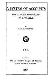 Cover of: A system of accounts for a small consumers' co-operative
