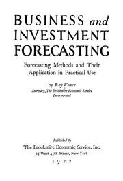 Cover of: Business and investment forecasting