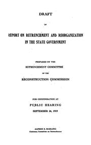 Cover of: Draft of report on retrenchment and reorganization in the state government | New York (State) Reconstruction commission. Retrenchment committee.
