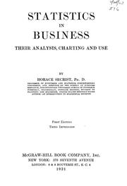 Cover of: Statistics in business | Horace Secrist