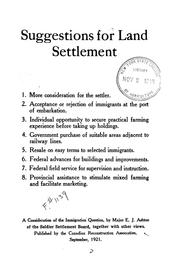Suggestions for land settlement ... a consideration of the immigration question