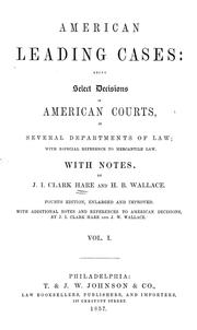 Cover of: American leading cases | J. I. Clark Hare