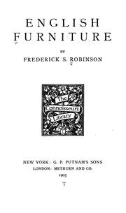 Cover of: English furniture | Frederick S. Robinson
