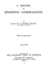 Cover of: A treatise on epizootic lymphangitis | W. A. Pallin