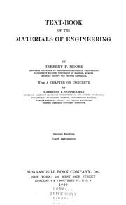Cover of: Textbook of the materials of engineering | Herbert Fisher Moore