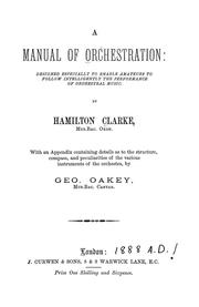 Cover of: A manual of orchestration | Hamilton Clarke