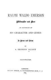 Cover of: Ralph Waldo Emerson, philosopher and seer by Amos Bronson Alcott