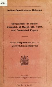 Cover of: Indian constitutional reforms | India. Home Dept.