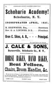 Cover of: Gazetteer and business directory of Schoharie County, N. Y. for 1872-3 | Hamilton Child