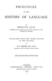 Cover of: Principles of the history of language