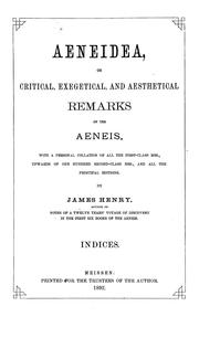 Cover of: Aeneidea, or, Critical, exegetical and aesthetical remarks on the Aeneis