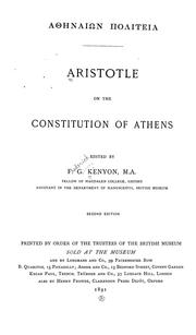 Cover of: 'Athēnaíōn politeía [romanized form] Aristotle on the constitution of Athens | Aristotle