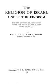 Cover of: The religion of Israel under the kingdom