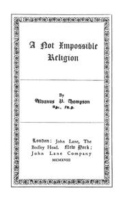 Cover of: A not impossible religion