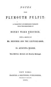 Cover of: Notes from Plymouth pulpit | Henry Ward Beecher
