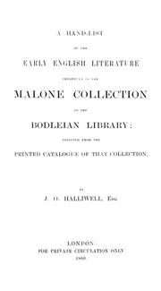 Cover of: A hand-list of the early English literature preserved in the Malone Collection in the Bodleian library | Bodleian Library.