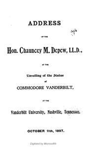 Address of the Hon. Chauncey M. Depew, LL.D.