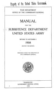 Cover of: Manual for the subsistence department | United States. War Dept. Subsistence Dept.