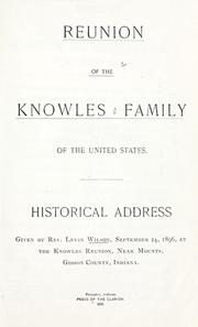 Cover of: Reunion of the Knowles family of the United States | Levin Wilson