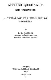 Cover of: Applied mechanics for engineers | Edward Lee Hancock