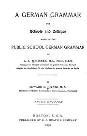 Cover of: A German grammar for schools and colleges | A. L. Meissner