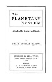 Cover of: The planetary system | Frank Bursley Taylor