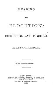 Cover of: Reading and elocution | Anna Randall Diehl